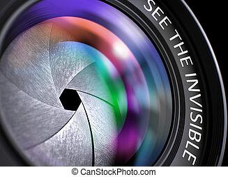 ver, cámara, lens., invisible, 3d, closeup.
