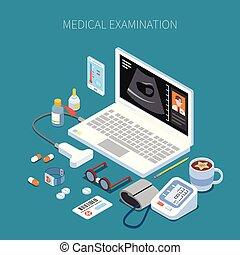 ver, medisch onderzoek, isometric, samenstelling