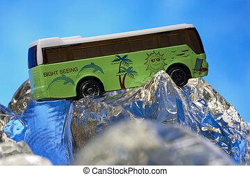 ver, modelo, vista, autobús