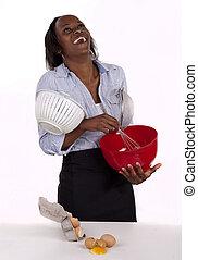 ver, mujer, humor, lío, kitchen., hecho, ella, africano, sur