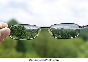 ver, naturaleza, por, anteojos