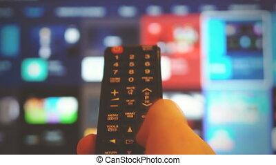 ver, tv, hand, control., vasthouden, mannelijke
