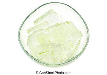 vera, vidro, cheio, tigela, aloe