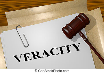 3D illustration of VERACITY title on legal document