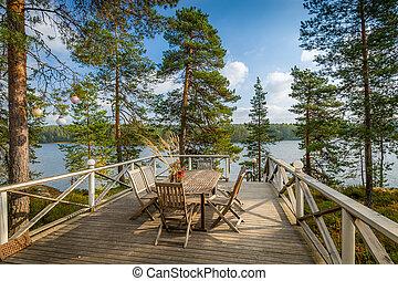 veranda, con, legno, mobilia