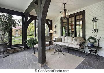 veranda, con, legno, raggi