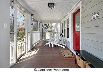 veranda, con, porta rossa