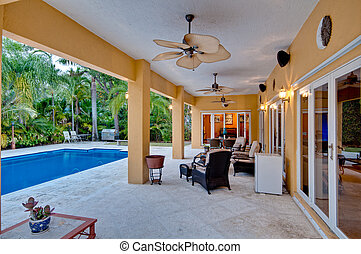 veranda, e, piscina