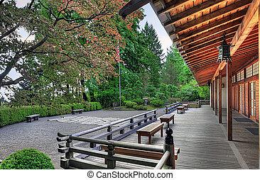 veranda, en, el, pabellón, en, jardín japonés