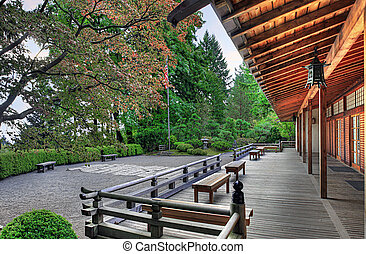veranda, hos, den, pavillon, ind, japansk have