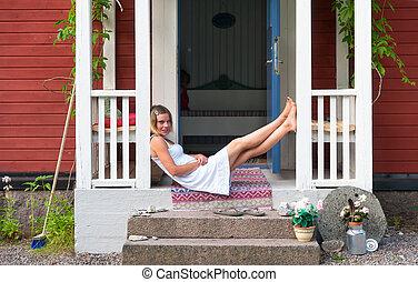 veranda, nő, bájos, ülés