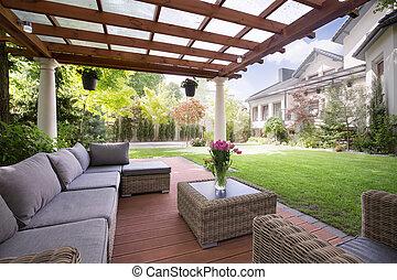 Picture of verandah with modern garden furniture