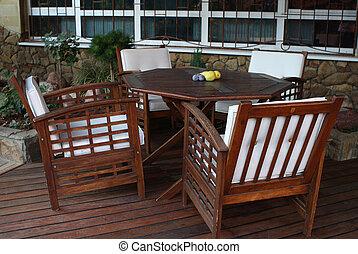 Wooden verandah in the evening.