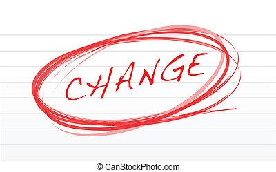 veranderen, boodschap, notepad