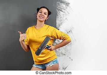veranderen, grijs, rol, ontwerp, mooi, verven, muur, gele, paint., interior., concept, herstelling, meisje, jas, jonge
