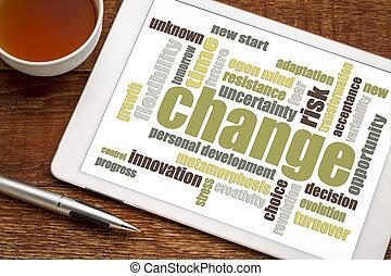 veranderen, woord, wolk, op, tablet
