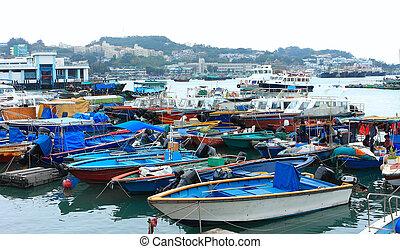 verankeerd, hong, woning, kong., cheung, visserij, chau,...