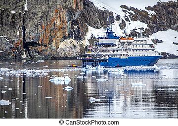 verankeerd, schiereiland, antarctisch, scheeps , baai