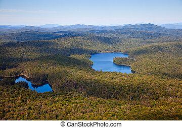 verano, aircr, aéreo, luz, lagos, bosques, adirondack, vista