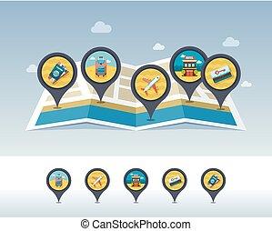 verano, alfiler, mapa, map., vacaciones, localizado, icono