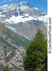 verano, alpes, montaña