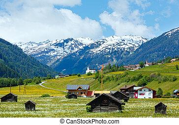 verano, alpino, vista, país