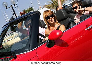 verano, amigos, cabriolet, conducción