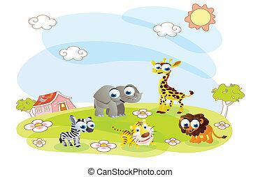 verano, animales, caricatura