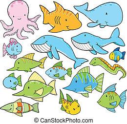 verano, animales, des, océano, vector, mar
