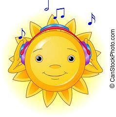 verano, auriculares, sol