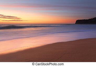 verano, australia, playa, bungan, salida del sol