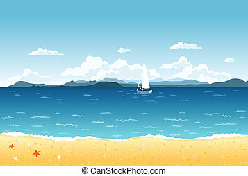 verano, azul, mar, paisaje, con, velero, y, montañas, en,...