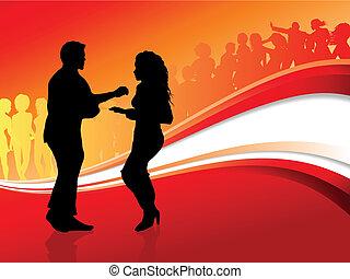 verano, bailando, pareja, joven, plano de fondo, sexy, fiesta