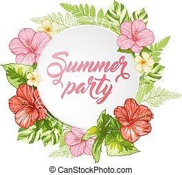 verano, bandera, con, rosa florece