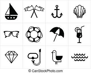 verano, blanco, mar negro, iconos