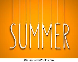 verano, -, blanco, palabra, ahorcadura, naranja, fondo., 3d, ilustración