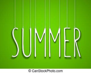 verano, -, blanco, palabra, ahorcadura, verde, fondo., 3d, ilustración