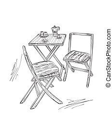 verano, bosquejo, cafe., tabla, silla, muebles