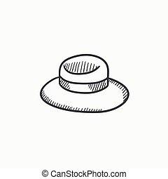 verano, bosquejo, sombrero, icon.