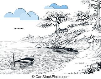 verano, bosquejo, vista marina, árboles, orilla, agua, aceituna, barco pequeño