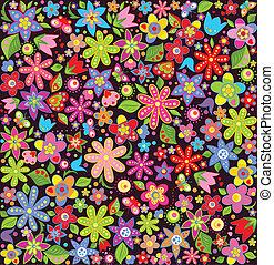 verano, brillante, papel pintado, flores