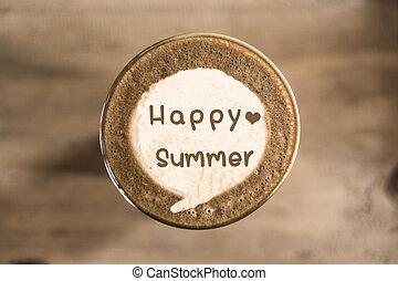 verano, café, concepto, arte, latte, feliz