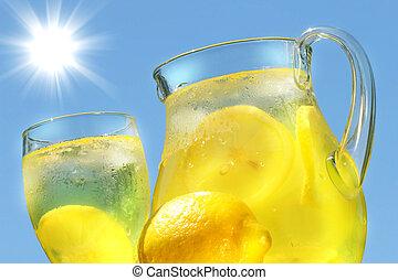 verano, caliente, limonada, día, fresco