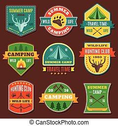 verano, campamento, colorido, emblemas
