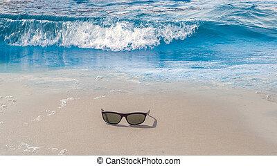 verano, caribe, superficie, onda, mar, playa, salida del sol
