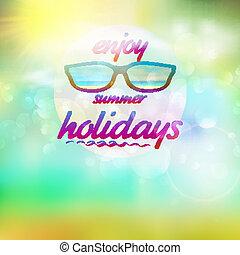 verano, cielo, con, sol, llevando, sunglasses.