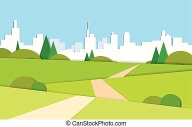 verano, ciudad, moderno, verde, camino, valle, paisaje, vista