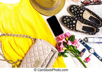 verano, clothes., conjunto