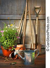 verano, cobertizo, jardín, olla, flores, herramientas