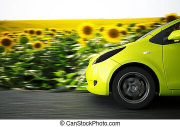 verano, coche, alto, plano de fondo, velocidad, paisaje